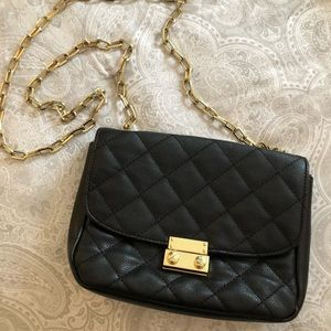 Handbags - Quilted Black & Gold Chain Bag